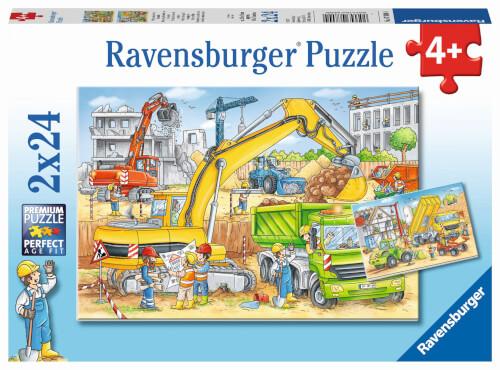 Ravensburger 07800 Kinderpuzzle Viel zu tun auf der Baustelle 2 x 24 Teile