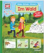WAS IST WAS Kindergarten Malen, Rätseln, Stickern - Im Wald, Taschenbuch, 24 Seiten, ab 3 Jahren