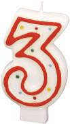 Amscan Zahlenkerze ''3'' (Motiv), Wachs, ca. 14x8x2 cm